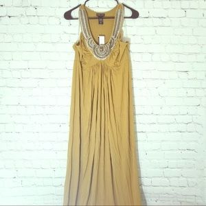 Beautiful NWT SzL Ny&Co. mustard beaded neck maxi